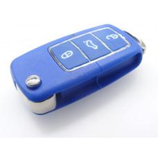 VW 3 BUTTON REMOTE CASE & KEY BLUE